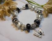 The Black and White Butterfly Pandora Style Bracelet