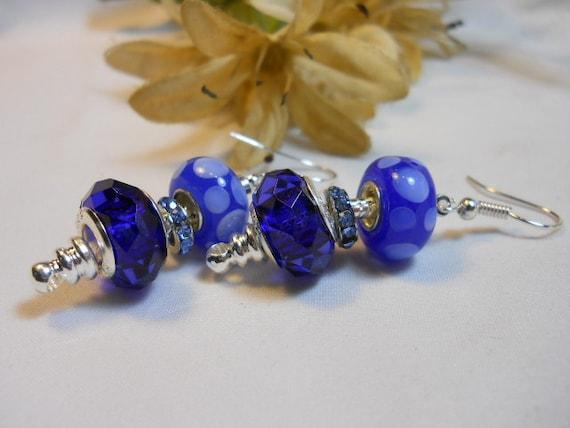 Dark Blue Bubbles Pandora Style Earrings