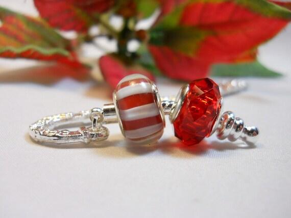 Red Stripe Beaded Pandora Style Bookmark