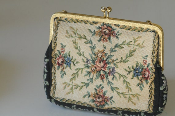 Lovely Tapestry or Petit Point Small Evening Bag, Clutch Purse