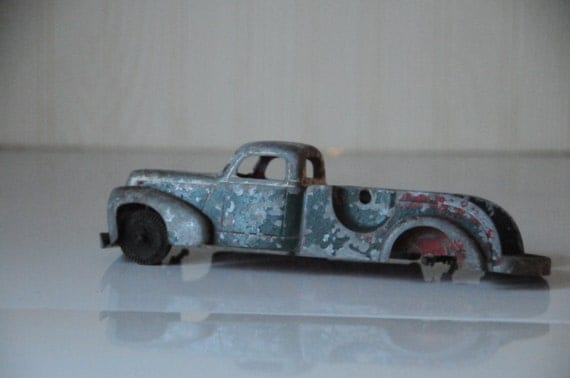 Vintage Metal Toy Truck, Rusty Die Cast Chippy Paint, Shabby Chic