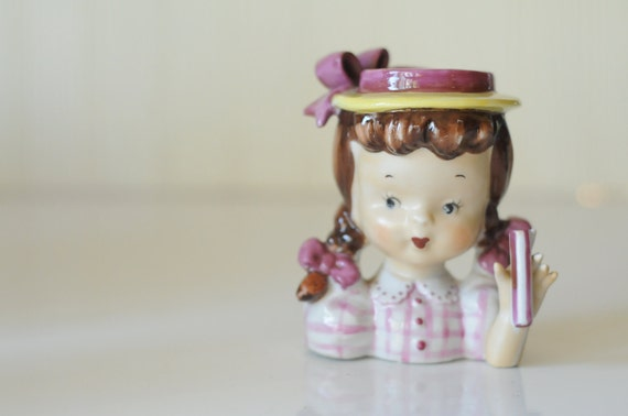 Vintage Napco Little Girl Head Vase With Umbrella Holder