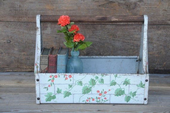 painted floral metal garden tool basket