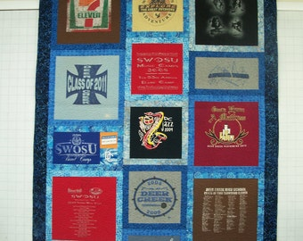 Queen Size Custom Made T-shirt Quilt