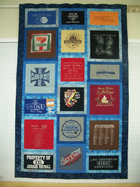 T Shirt Quilt Pattern Queen : Queen Size Custom Made T-shirt Quilt
