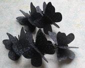Black Butterfly Decor: 20 Black Glitter Paper Butterflies