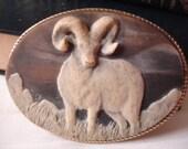 VINTAGE BELT Buckle Ram Incolay 1970s Western Southwestern Rustic.....by Mississippi Delta Treasures