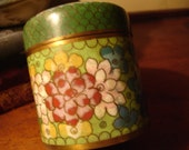 CLOISONNE TEA CANISTER 1940s Art Deco China Asian Collectable Oriental Arts And Crafts French Country