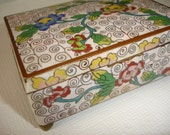 1960s CIGARETTE BOX Cloisonne White Flowers  Paris Apartment Shabby Cottage French Country By Mississippi Delta Treasures