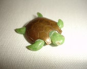 BAKELITE Turtle Brooch 1930s Brass Carved Shell Art Deco OOAK Hand Crafted...by Mississippi Delta Treasures