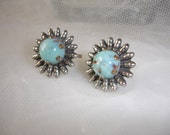VINTAGE TURQUOISE Earrings Silver Lucite 1940s Art Deco Mad Men ....by Mississippi Delta Treasures