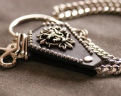 Lion symbol Nickel-plated iron/Genuine leather wallet chain 25.2in