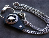 Star Nickel-plated iron/Genuine leather wallet chain 25.2in