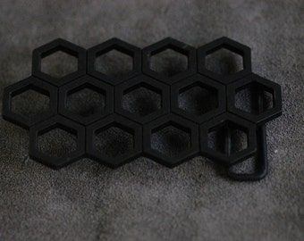 """Honeycombed powder coated  pewter Belt Buckle 3.9""""x2.1""""(in)"""