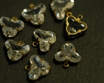 4 Pcs Vintage Brass Charms with Cubic Zirconia -skull supply-