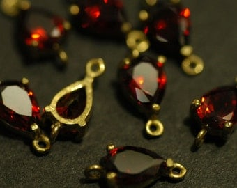 4 Pcs Vintage Brass Connector charms with Red Cubic Zirconia