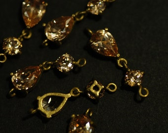 2 Pcs Vintage Brass linked Connector charms with champagne Pear shaped & Round Cubic Zirconia