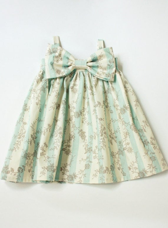 light blue and cream stripped grey floral Big Bow dress