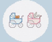 Mini, Koala and Bunny in PRAM, Easy and little Cross Stitch PDF Pattern, Baby Girl and Boy