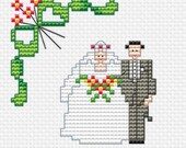 JUST MARRIED, the newlyweds, Easy and little Cross Stitch PDF Pattern