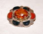 Beautiful Victorian Vintage Silver Citrine Agate Brooch