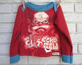 2T Red Devil Marc Ecko Cut and Sew Long Sleeve Upcycled T-Shirt, Baby Shower. Black Friday/Cyber Monday/Free Shipping /Gifts under 50
