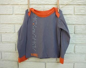 2T Gray and Orange Upcycled Long Sleeve T-Shirt