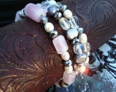 Cultured Freshwater Pearls and Glass Beaded Stretch Bracelet - Set of Three