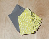Chartreuse Leaf Pattern Note cards
