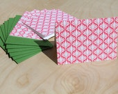 Set of 6 Pink Wallpaper note cards - WishboneLetterpress