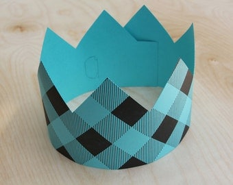 Letterpress Party Crown in Plaid Turquoise