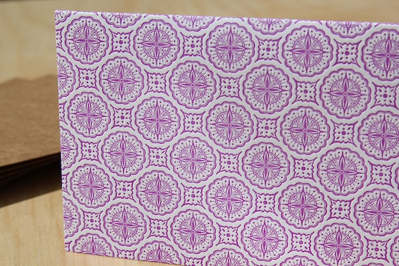 Set of 6 Purple Patterned note cards