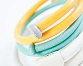 Knitting Needle Bracelet Trio in White, Yellow and Blue