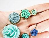 Romantic Blue Rose Collage Necklace