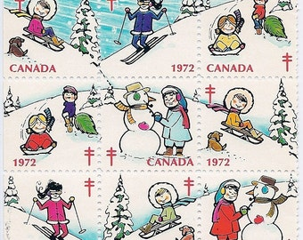 Vintage Christmas Seals - Canada 1972 - Children Playing in the Snow