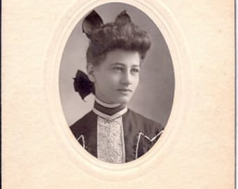 Stylishly Coiffed Young Woman - Vintage Photo early 1900s - Sepia Real Photograph Mounted