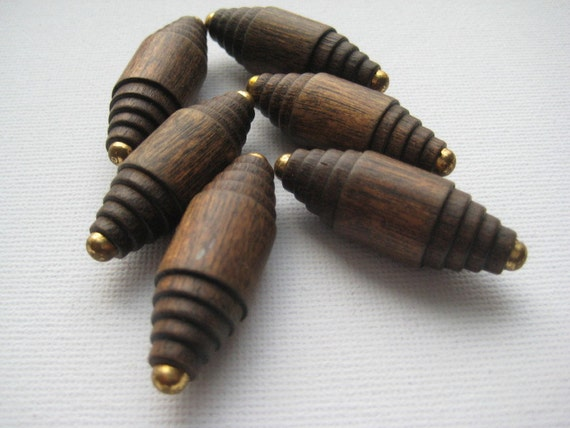 Dark Brown Wooden Vintage Buttons - Elongated with a Touch of Brass Embellishment