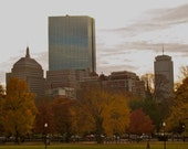 Boston Skyline Photograph Prudential Hancock Buildings Fall Leaves - 5x7 print matted to 8x10 ready to frame