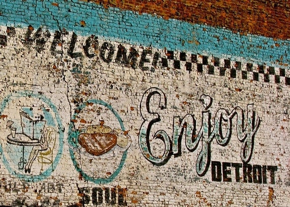 Enjoy detroit photograph mural painted brick urban street art for Enjoy detroit mural