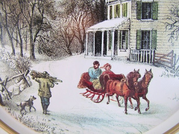 Vintage Currier and Ives Tin Tray- American Homestead Winter by Guildcraft