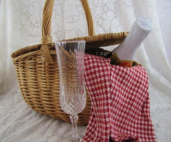 SALE- Vintage Market Basket- Double Lidded Wicker- Picnic Basket- Was 52.00