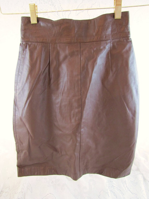 Vintage Leather Pencil Skirt- Brown leather, fully lined, Size Extra Small