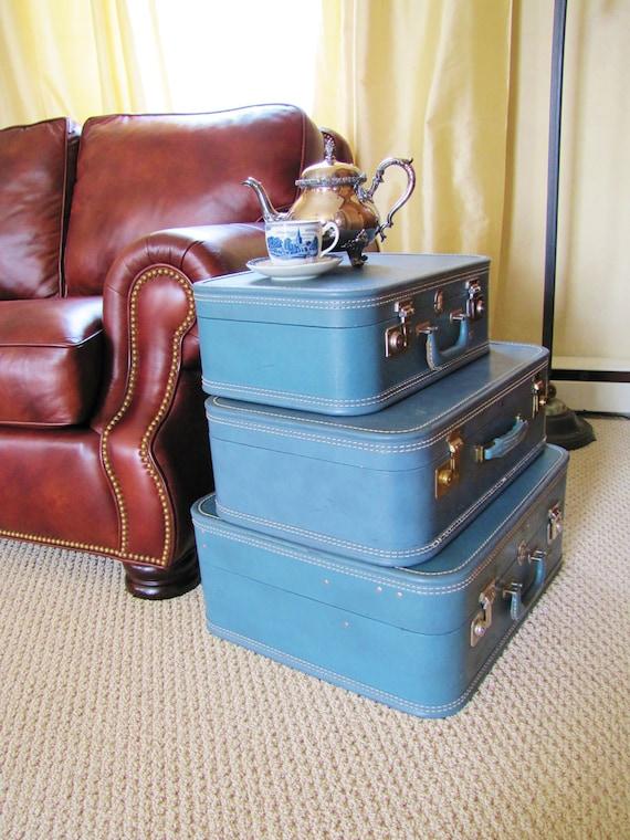 Vintage Luggage Set-  Medium Blue Suitcase Set of Three- Hardcase- Travel Toy