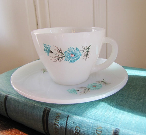 Fire King Tea Cup and Saucer- Vintage Bonnie Blue Thistle Pattern- Anchor Hocking Oven Ware Made in USA