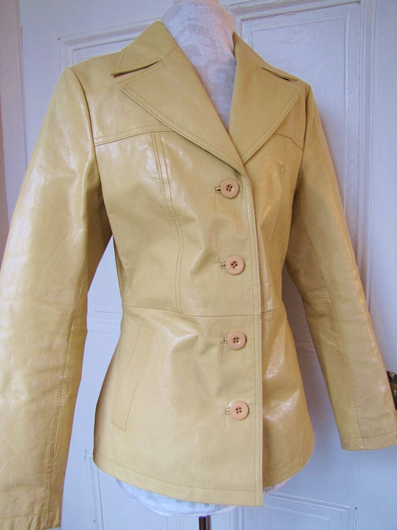 Butter Yellow Leather Jacket Blazer- Womens Size Small- Pale Buttercup Yellow- Wilsons Leather- Vintage