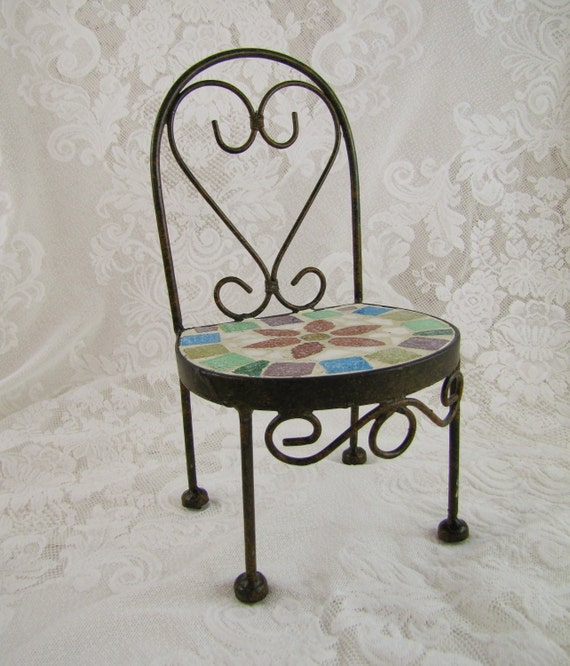 Vintage Doll Chair- Wrought Iron and Tile Mosaic- Scrolled Design