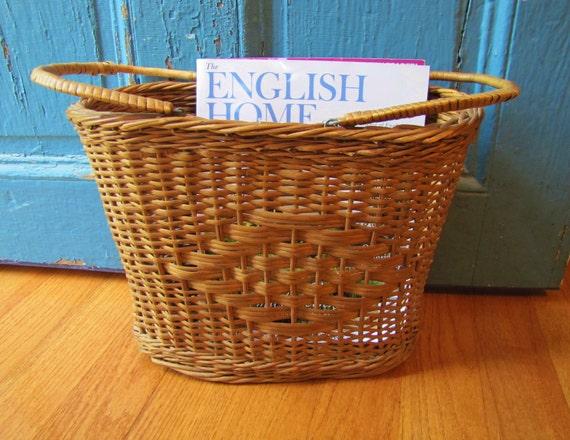RESERVED for Joyce- Antique Market Basket- Two Handled Basket Tote- Magazine Basket