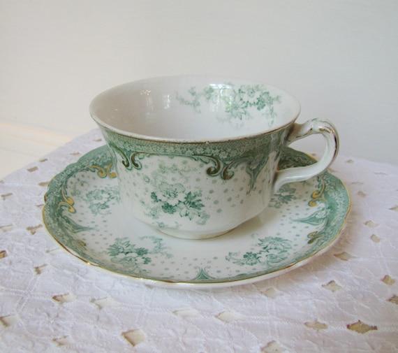 Antique Alfred Meakin Teacup Selwyn Pattern- Royal Semi-Porcelain, 1891-1930, Green Floral