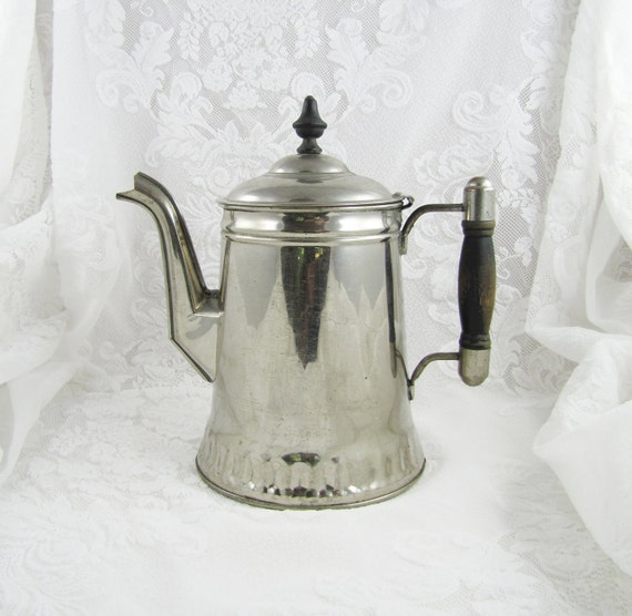 SALE- Antique Rochester Stamping Company Nickel Plated Copper Coffee Pot- was 53.00