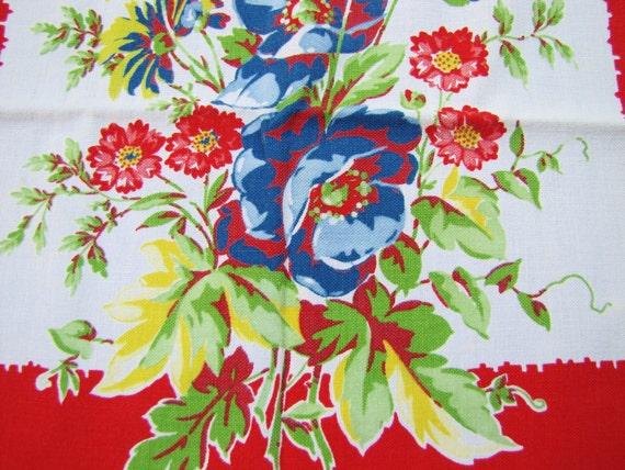 Set of Two Vintage Linen Kitchen Towels- Red, White, Blue- Roses, Floral Design